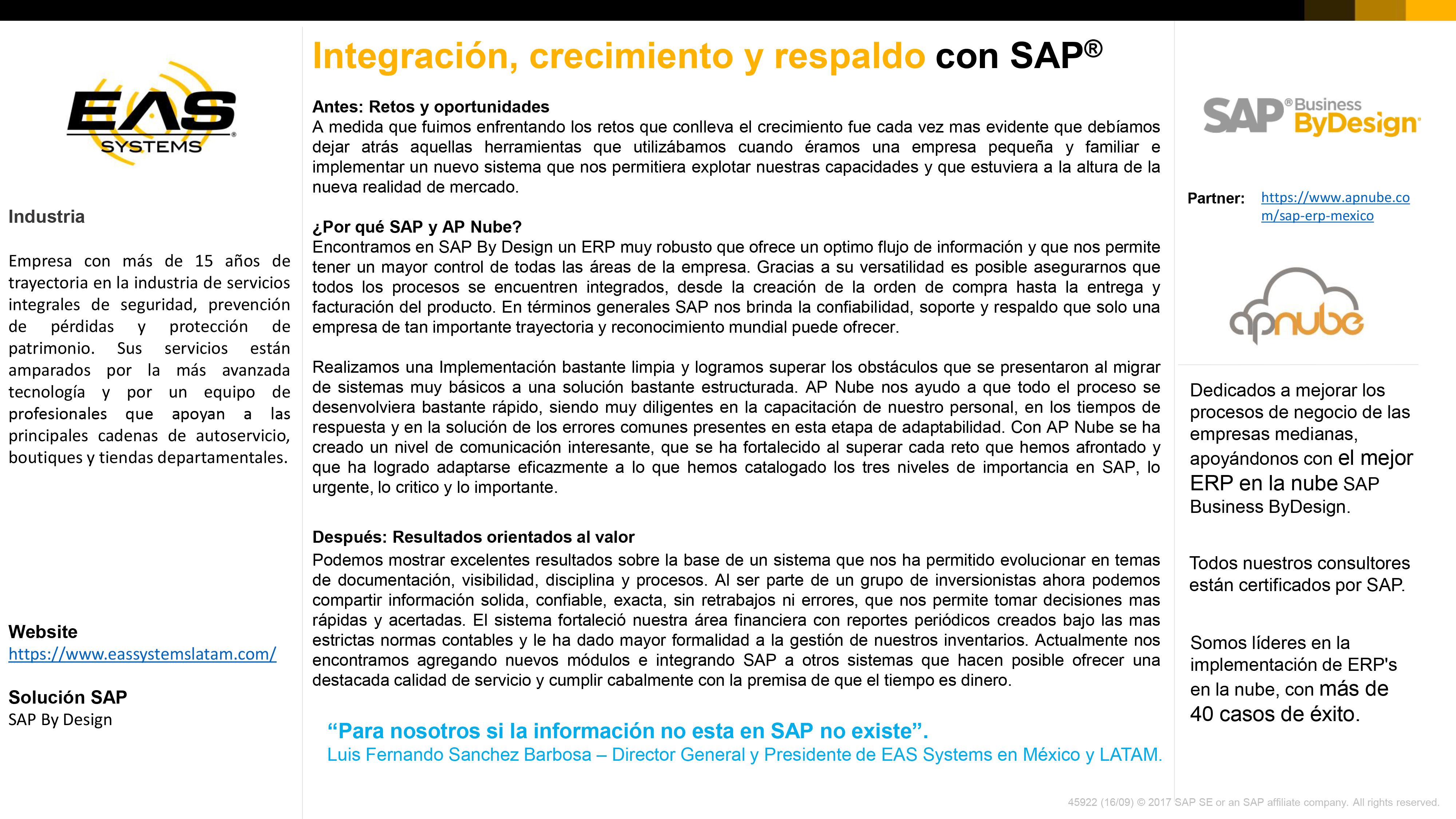 Caso de Exito EAS Systems - AP Nube